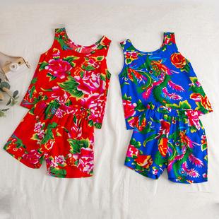 棉绸宝宝家居服 薄款 套装 儿童睡衣女童夏季 东北大花布男童背心短裤