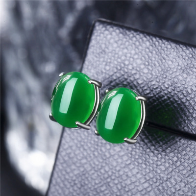 S925 silver jewelry magenta Agate Gemstone Earrings for womens Retro emerald chalcedony simple earrings for mother.