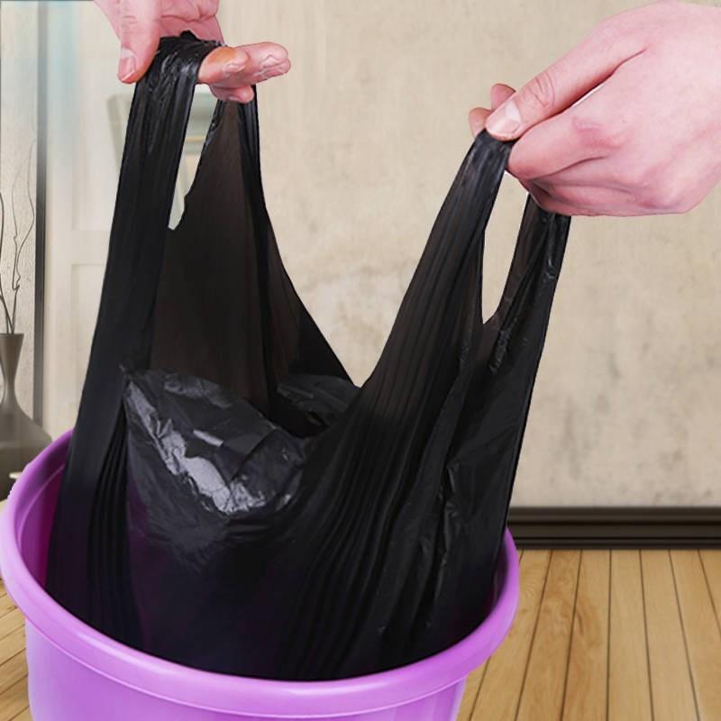 垃圾袋加厚手提式不脏手背心黑色塑料袋不易破韧性强家用厨房办公,可领取1元天猫优惠券