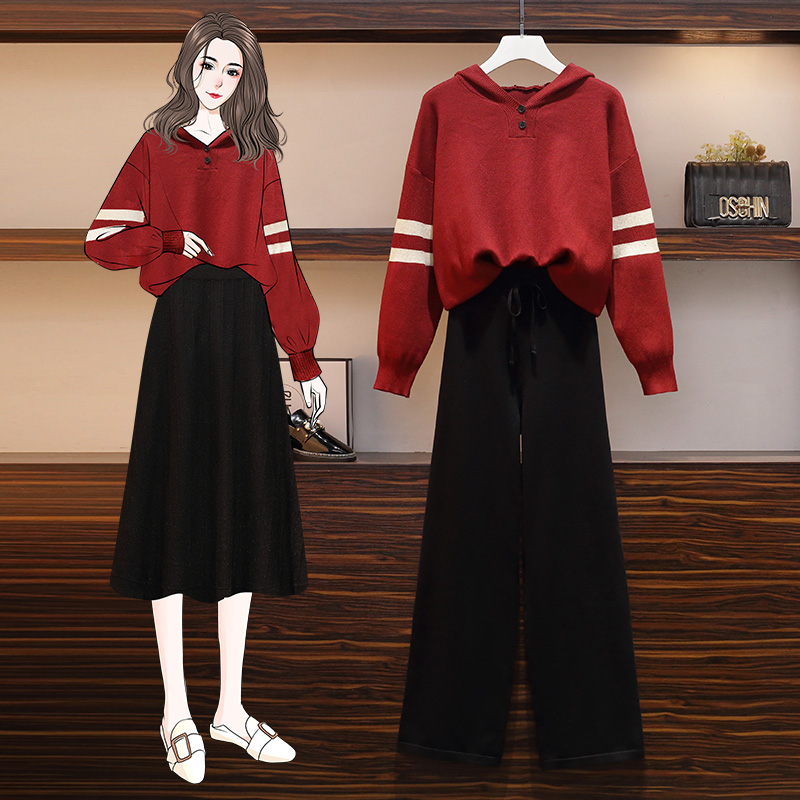 Fashion big size 2020 autumn dress foreign style knitting sweater fried Street suit show thin skirt wide leg pants two piece suit fashion
