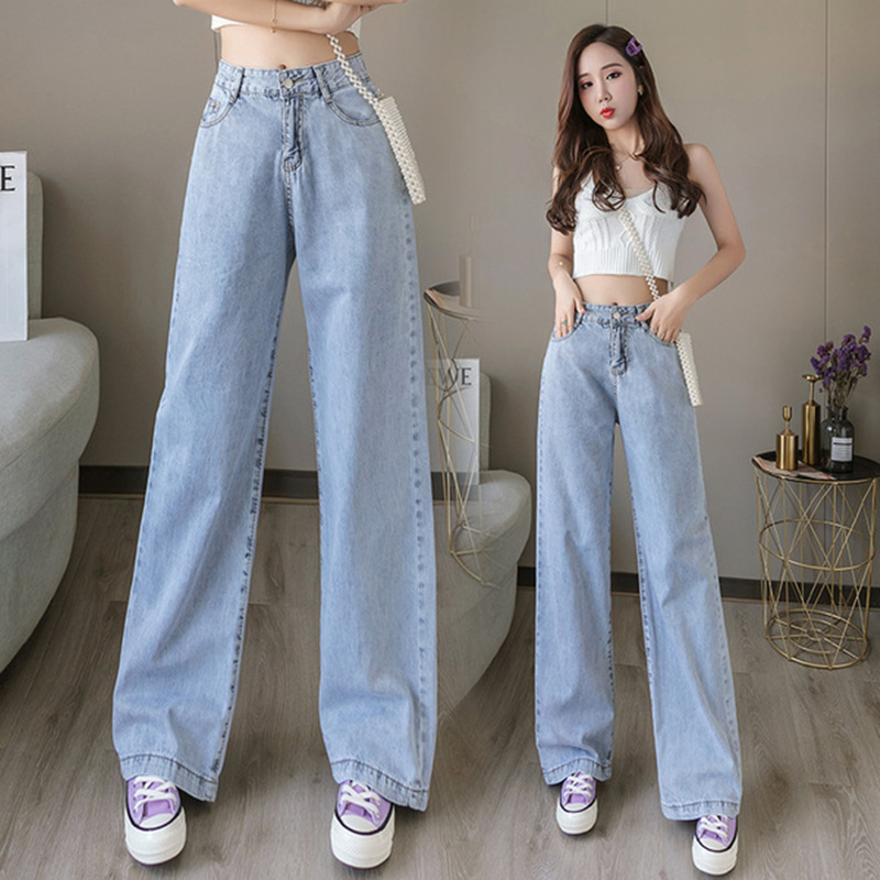 Wide leg jeans womens early autumn 2020 high waisted slim mops with vertical pants