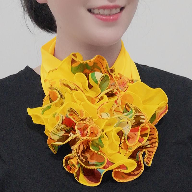 围脖领花女秋冬新款领花纯色脖套花时尚韩版百变假领子图片