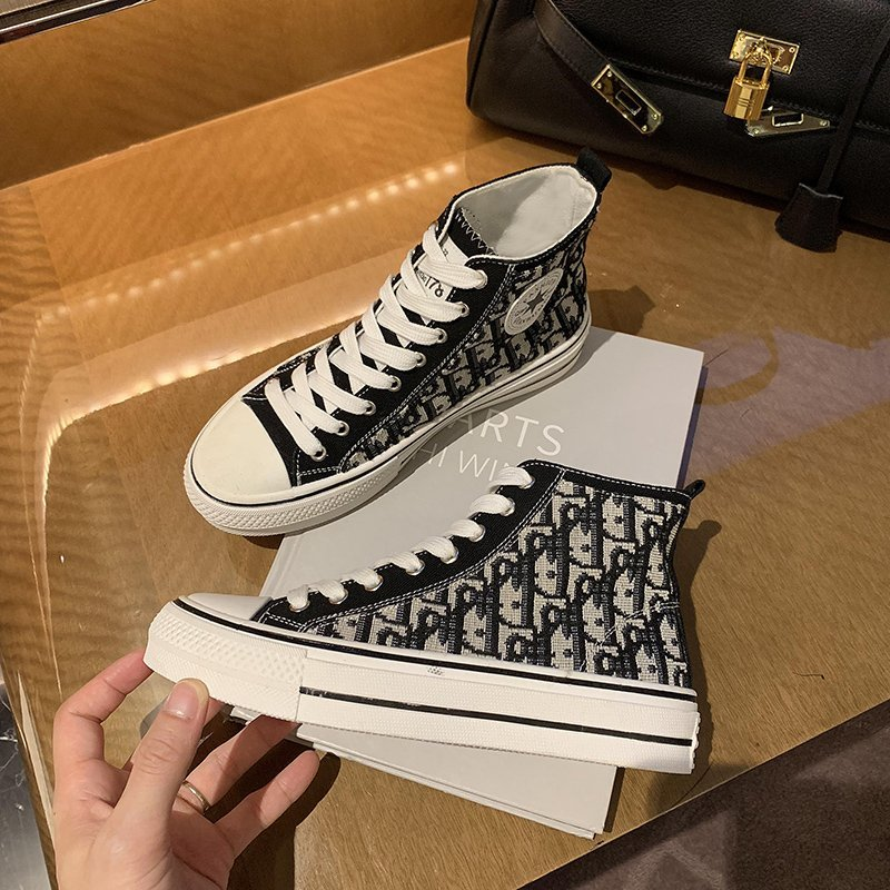 Tiktok 2020 new autumn style old canvas shoes, ladies shoes, high floor flat shoes,