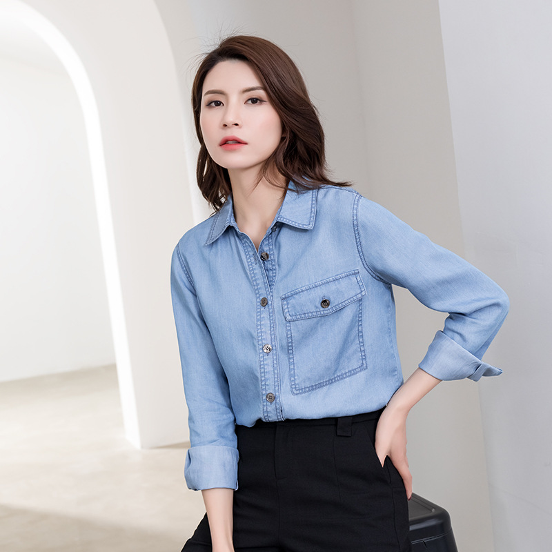 Summer new Tencel cotton denim shirt womens European and American casual V-neck loose 3 / 4 sleeve soft thin top fashion