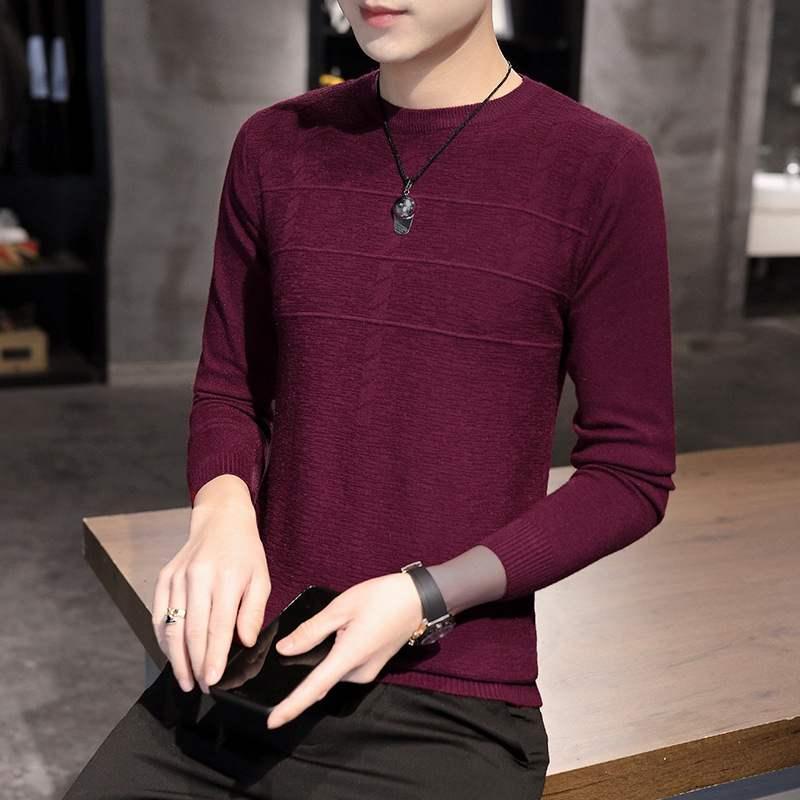 2020秋季薄款针织衫男式韩版时尚潮流修身长袖圆领套头针织毛上衣
