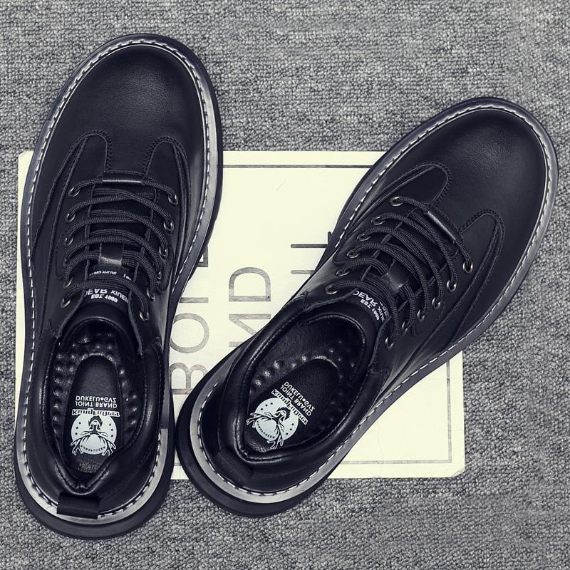 英伦皮鞋男士2020新款冬季真皮马丁靴男低帮韩版加绒潮工装大头鞋