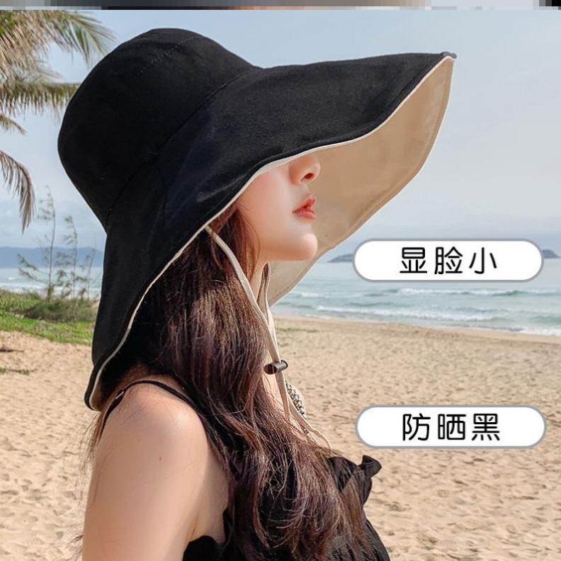 春天薄女帽麻料渔夫帽女夏季薄款黑色夏季薄款短檐显脸小水桶帽