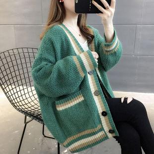 2019秋冬装新款V领针织衫开衫女装洋气毛衣外套女外搭上衣慵懒风