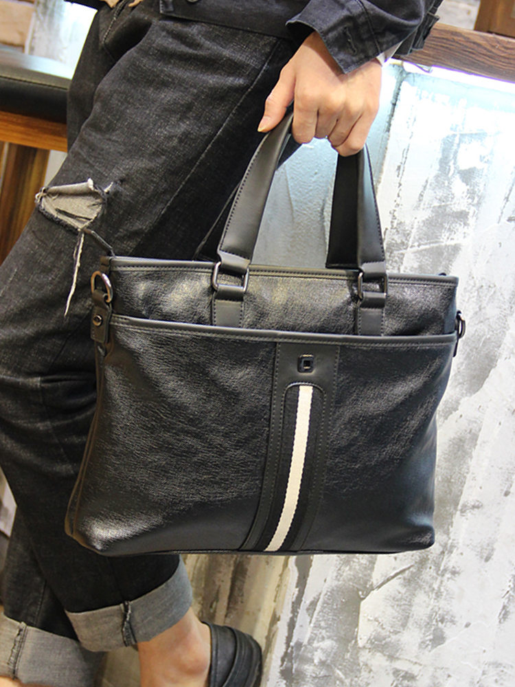 Portable briefcase business mans shoulder bag can hold a 14 inch iPad tablet file laptop with diagonal span