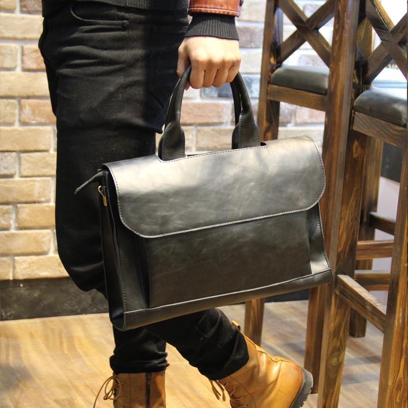 Business mens one shoulder straddle handbag crazy horse leather briefcase can hold 10 inch iPad tablet laptop