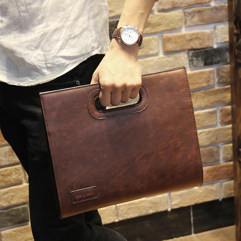 疯马皮商务手提文件男手拿包可放9.7 10寸ipad平板电脑装手机钱包