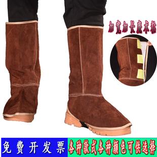 备牛皮电焊护脚套皮护腿劳保防护鞋 焊工防护装 套 盖隔热防烫焊接鞋