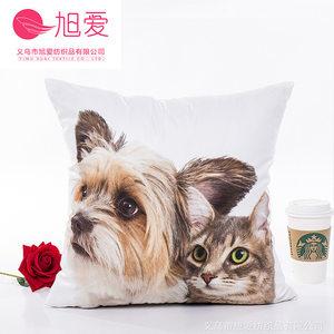 支持3D动物猫狗数码印花抱枕靠枕靠垫套不含芯厂家直销
