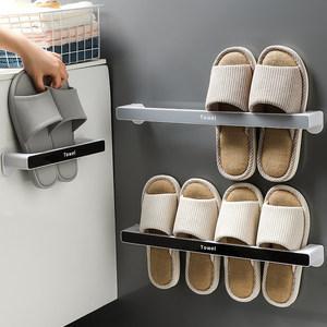 浴室拖鞋架卫生间墙壁挂式免打孔厕所置物架门上壁挂鞋子收纳神器
