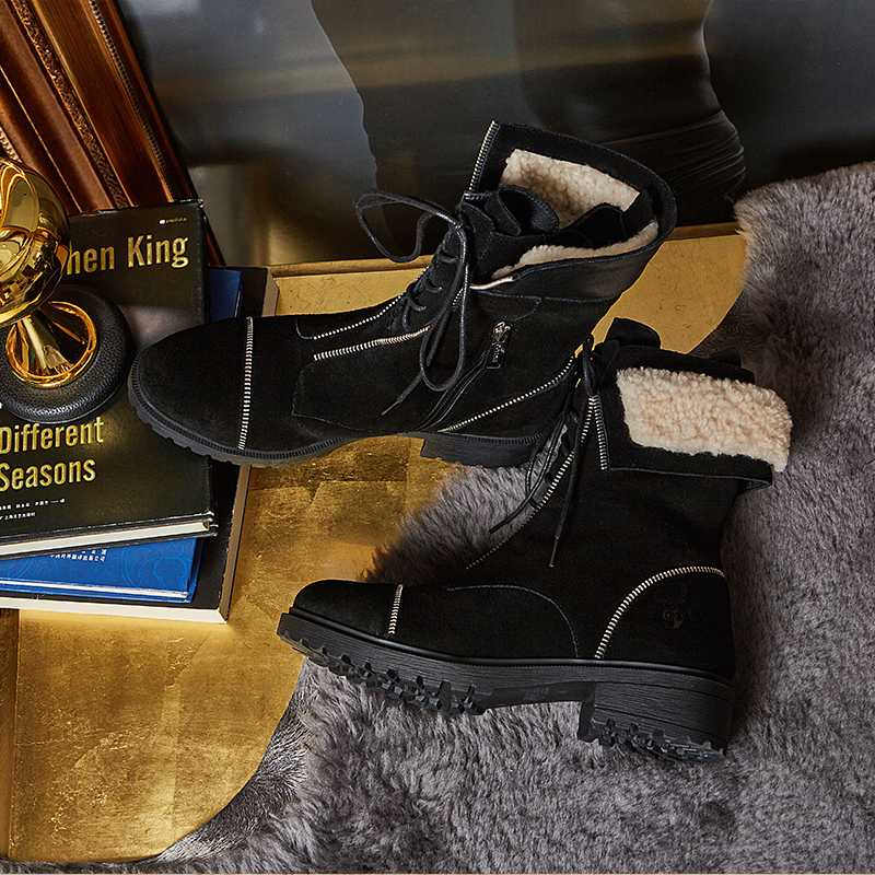 DK Martin boots womens Australia shoes direct mail new zipper decoration suede locomotive boots womens shoes in autumn and winter 2019