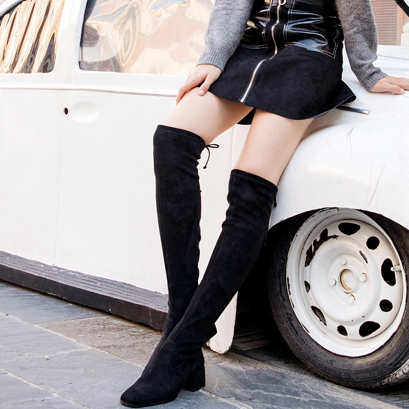 DK knee high boots womens direct mail 2019 new suede wool inner high heel long tube high boots