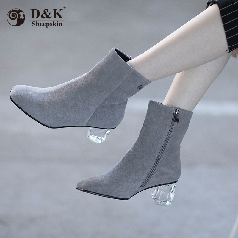 DK high-heeled shoes childrens Australia direct mail 1019 autumn and winter new all-around cotton shoes and plush womens shoes