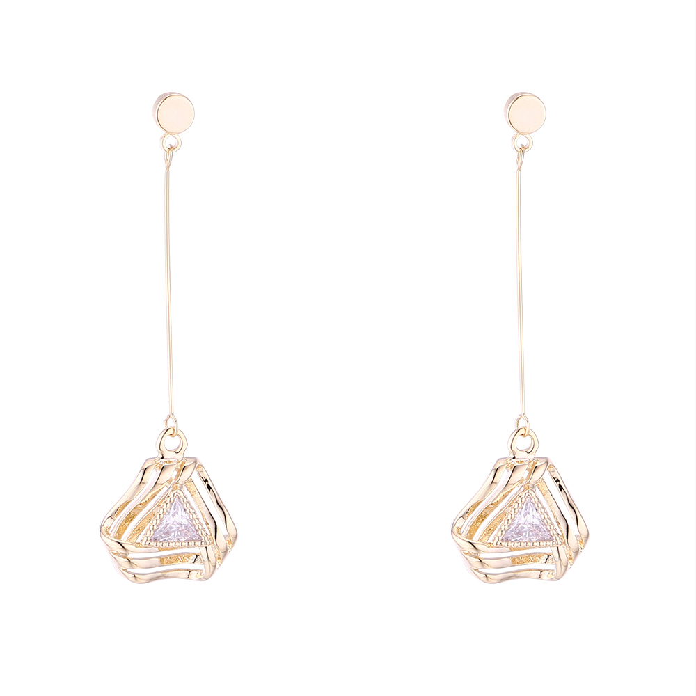 Leisure home accessories 1902 Korean version plated with real gold creative temperament versatile S925 silver needle Earrings (14K)