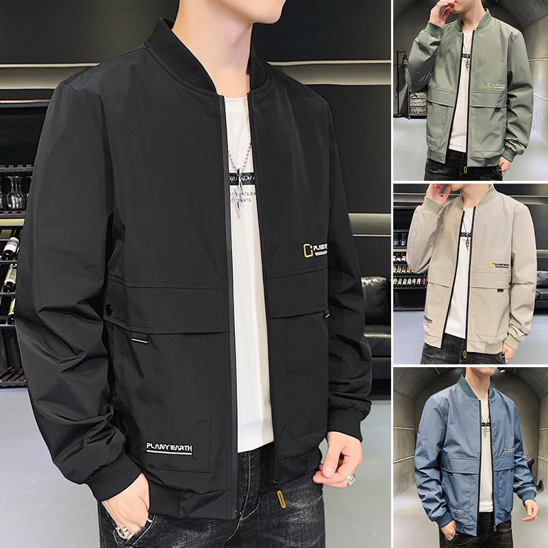 2021新款秋季潮牌男装专柜外套青年休闲时尚立领男式薄款夹克批发