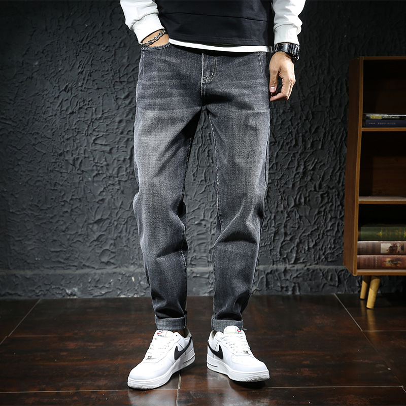 Jeans, mens pants, Korean version Harlan leggings, Lexton loose and fat, oversized stretch casual pants