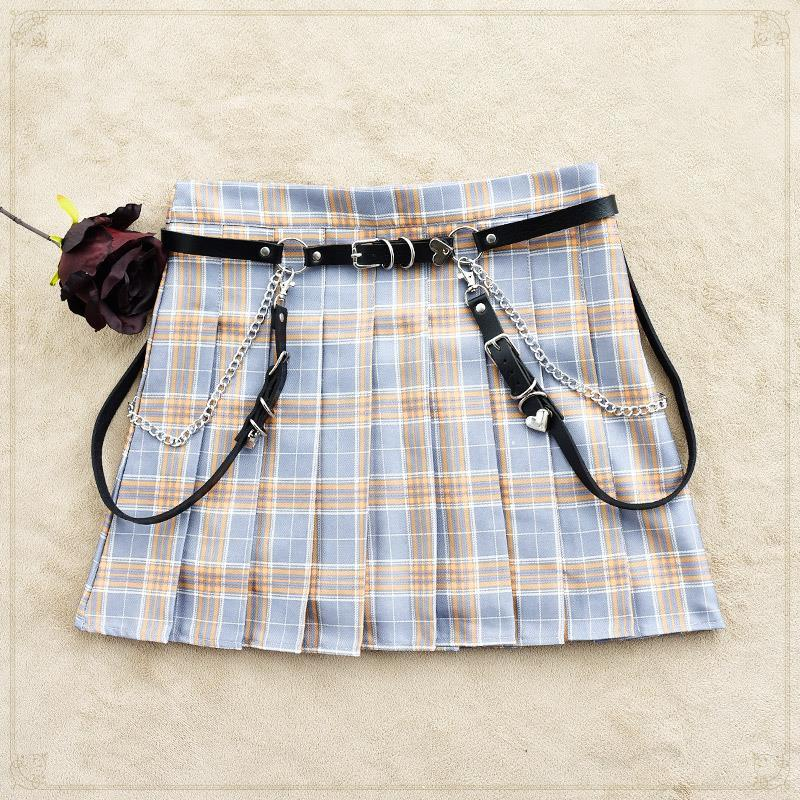 Harajuku dark Lolita Lolita girl Punk Gothic belt decorative accessories leather strap JK waist chain