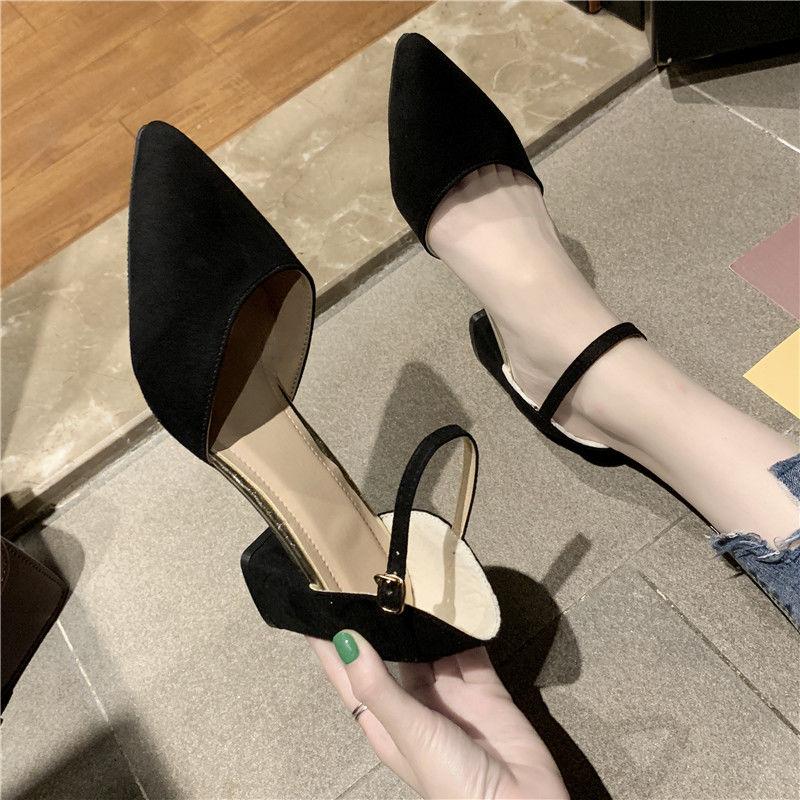 中國代購 中國批發-ibuy99 高跟鞋 鞋子女学生韩版包头单鞋女夏百搭中跟尖头一字扣粗跟高跟鞋女凉鞋