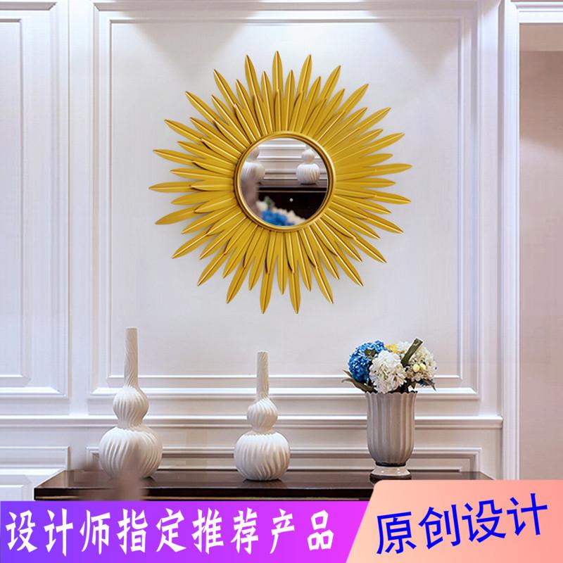 Living room, porch, sofa, background wall, art model room, Sun decorative mirror, European wall, creative light luxury wall hanging