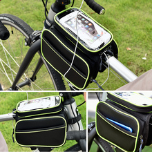 Front Beam of Bicycle Bag Mountain Bike Large Capacity Waterproof Mobile Phone Upper Tube Beam Hanging Bag Saddle Bag Riding Accessories
