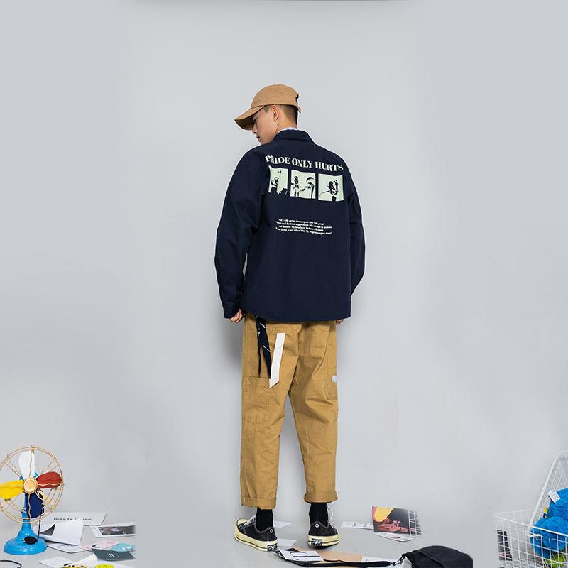 (用538元券)北二出口日系印花工装长袖衬衫男宽松潮牌2019新款纯棉休闲衬衣