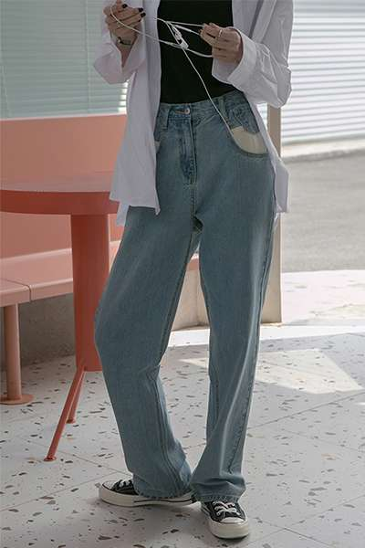 [vnook2019ss] contrast patch pocket design light blue girl denim wide leg pants