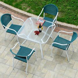 户外休闲阳台小圆桌椅子编藤三五件套室外花园露天台庭院铁艺桌椅图片
