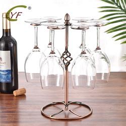 红酒杯架倒挂高脚杯架家用餐桌酒柜摆件欧式创意红酒架悬挂六杯架
