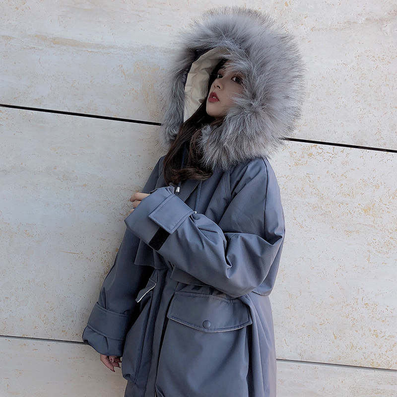 Big collar down jacket slim winter work clothes short white duck down real wool waist school to overcome female raccoon dogs fur