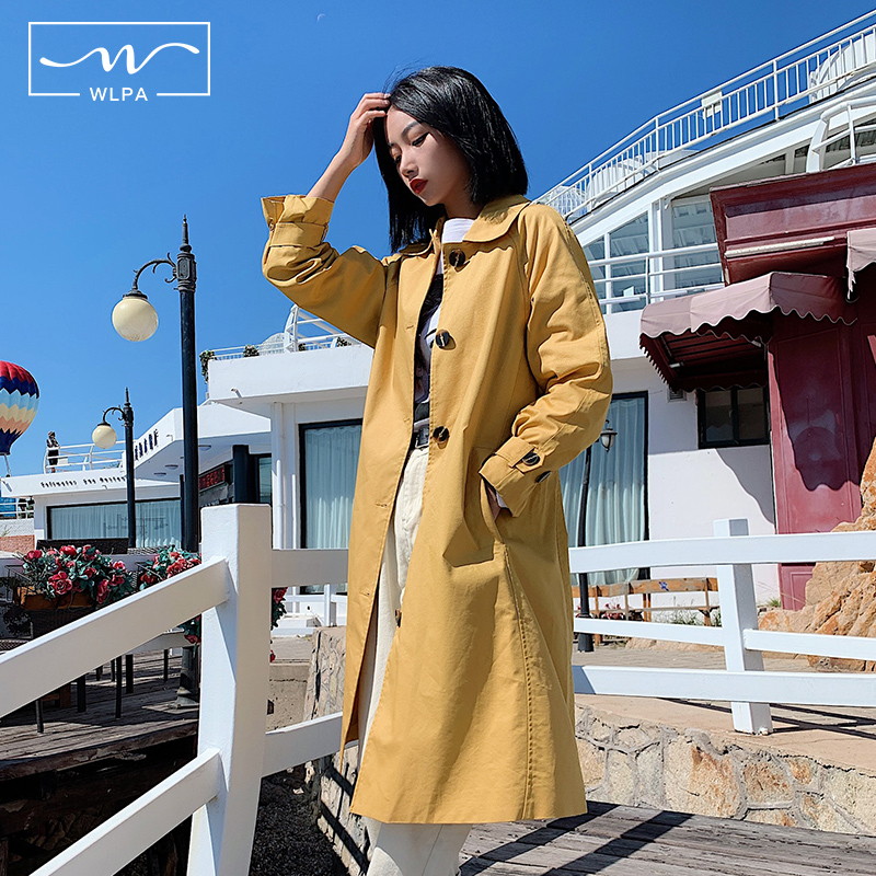 New medium and long windbreaker coat European and American Style Hong Kong Style temperament style waist closing spring dress 2020 womens fashion age reduction