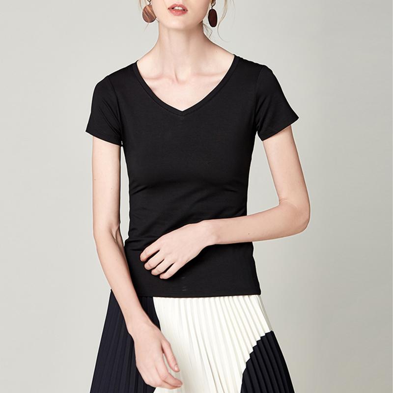 蜜瓜橙莫代尔T恤女2020夏装新款V领短袖基础款女装修身显瘦上衣图片