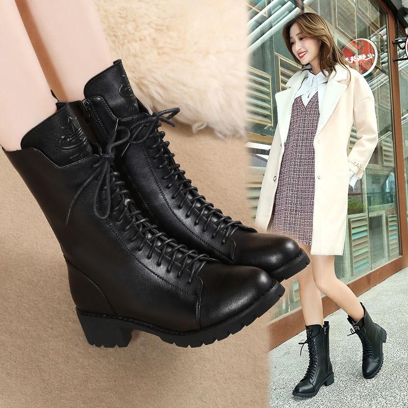 马丁靴女英伦风学生韩版冬季平底2018女鞋新款靴子棉鞋女粗跟短靴
