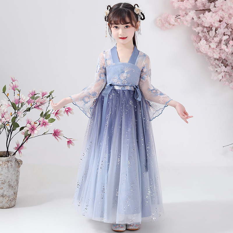 Girls' ancient Chinese style Hanfu skirt super fairy dress children's ancient dress Ru skirt little girls' Tang suit summer dress