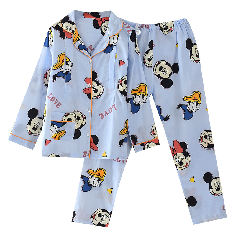 Pregnant womens pajamas, womens summer clothes, long sleeve cotton gauze, ultra thin clothes for childbirth, admission to the hospital, baby clothes in summer