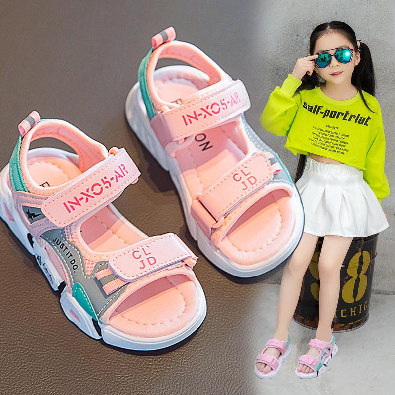 儿童凉鞋女2020年夏季新款小女孩学生时尚ins运动凉鞋中大童软底