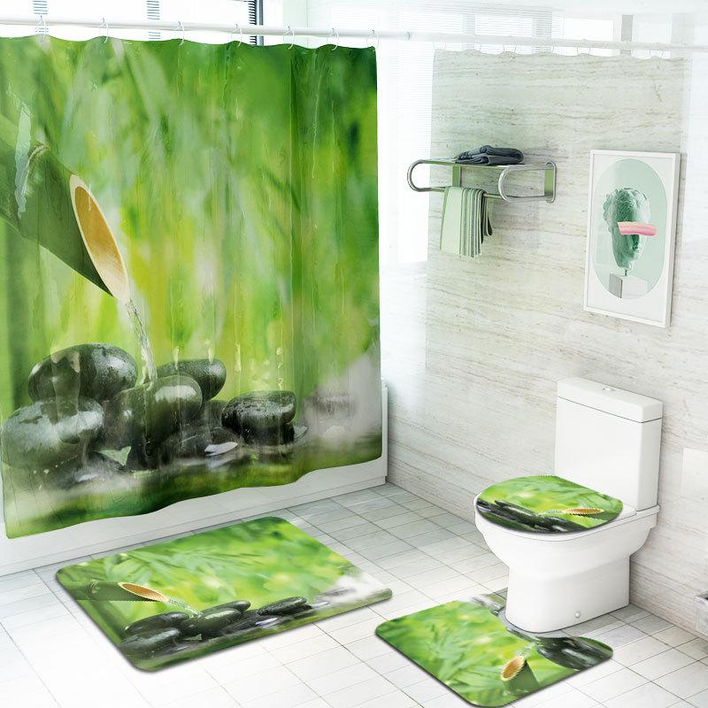跨境新品中国风竹子印花浴帘地四件套浴室套装亚马逊热卖