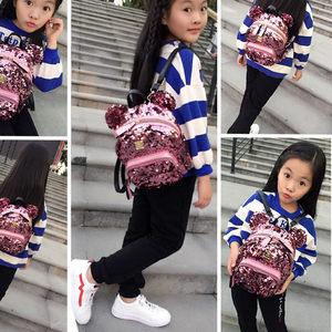 韩版女童双肩包可爱卡通米奇时尚亮片小书包休闲出游女孩背包潮新