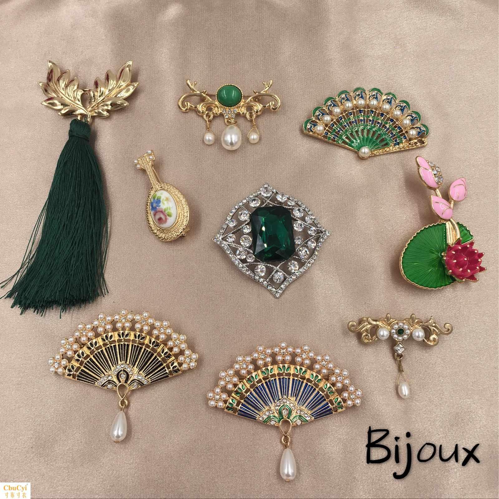 复古中国风绿色宝石马来玉珍珠扇子流苏荷花琵琶个性别针胸针