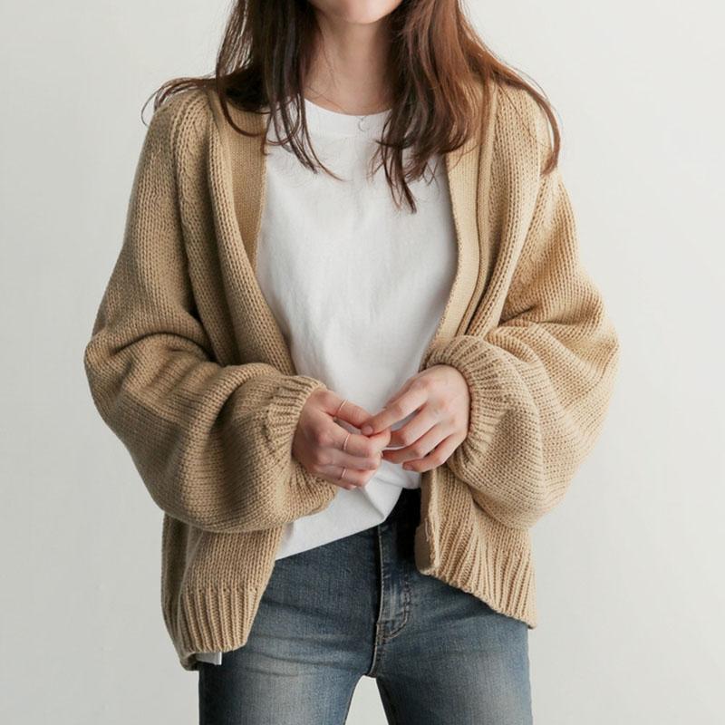 早秋季针织毛衣外套女宽松慵懒风韩版学生短款复古外穿开衫学院风