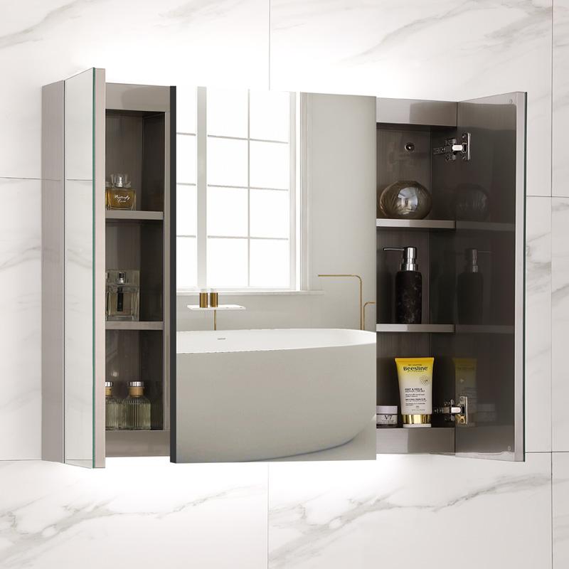 不锈钢智能浴室镜柜挂墙式带灯卫生间镜子带置物架厕所镜面柜单独