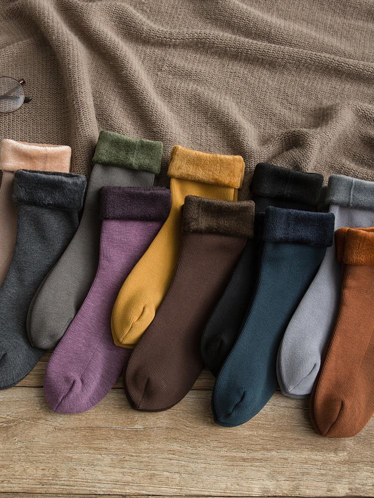 帕耐克丝袜光腿袜子女中筒袜秋冬纯棉冬天加绒雪地袜加厚保暖冬季