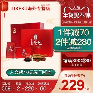 韩国正官庄进口6年根高丽参红参人参液饮品60包礼盒装增强抵抗力