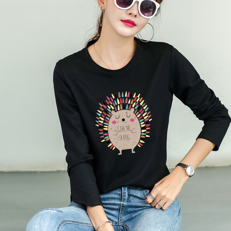 Fashion base coat womens long sleeve spring and summer 2020 new personalized cat pattern casual top loose and versatile T-shirt