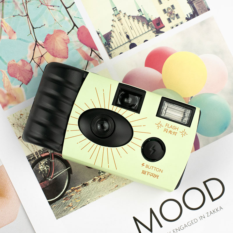 New 100 disposable film camera retro ins film fool camera students with flash photography gift