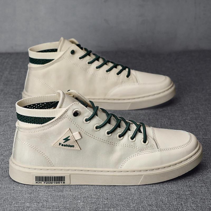 帆布鞋男白色高帮板鞋秋季新款布鞋韩版潮流印花涂鸦百搭小白潮鞋