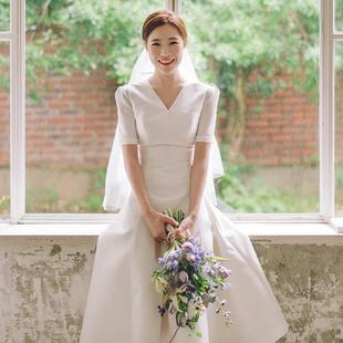 法式簡約輕婚紗2020新款新娘出門紗赫本森系旅拍超仙緞面日常禮服